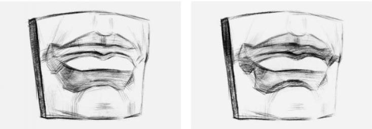素描石膏嘴的详细画法步骤
