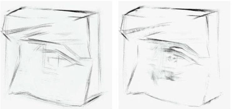 素描石膏眼睛的绘画过程