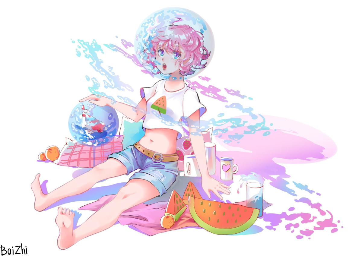 p站动漫插画壁纸:夏天吃西瓜的少女像西瓜一样甜!